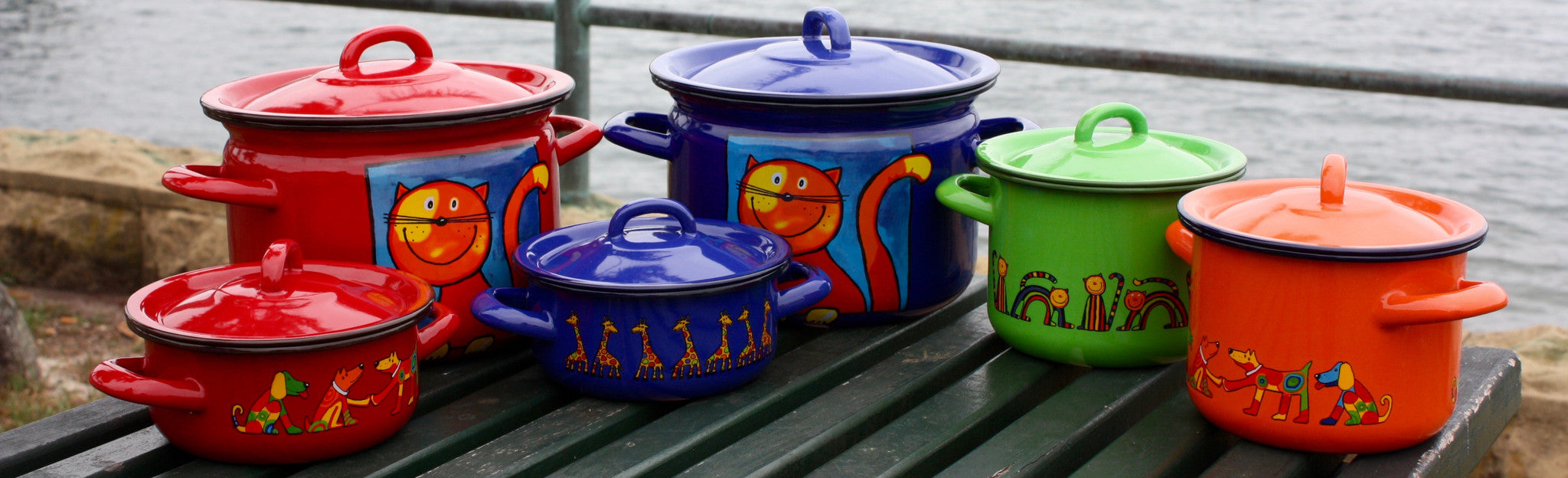 Rainbow tongue enamelware cooking pots