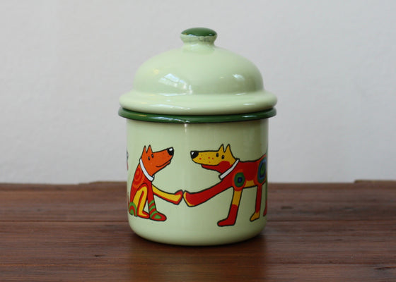 Enamel bowl container 330ml * dogs | Rainbow Tongue Enamelware