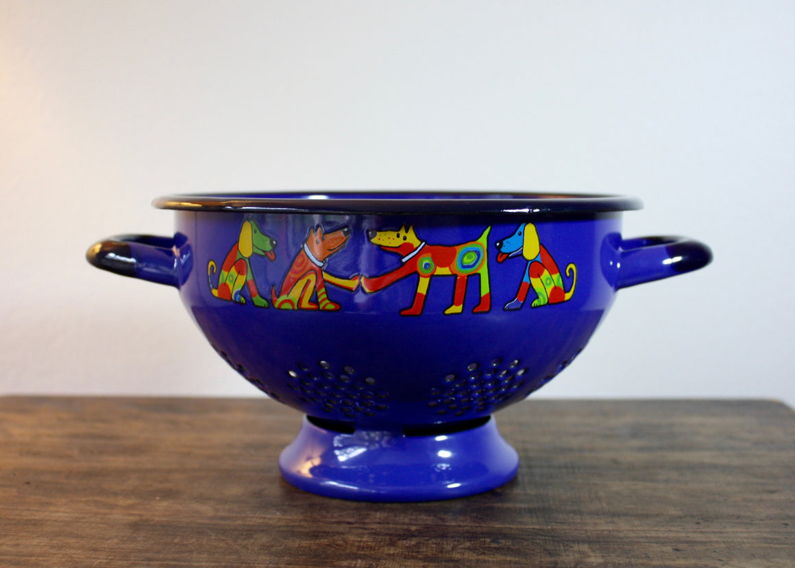 Colander blue * dogs | Rainbow Tongue Enamelware