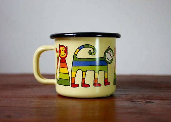 Enamel mug 110ml * stripe cats - Rainbow Tongue