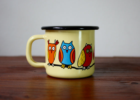 Enamel mug 110ml * owls - Rainbow Tongue