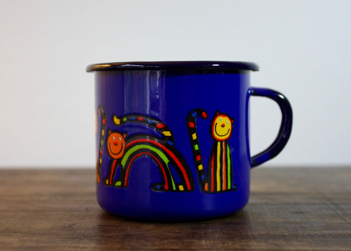 Enamel mug 220ml * curved cats - Rainbow Tongue