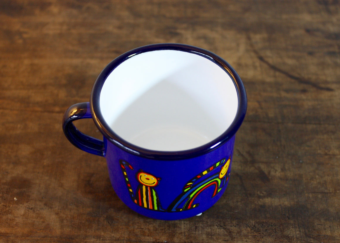 Enamel mug 220ml with curved cat (blue) top view | Rainbow Tongue Enamelware