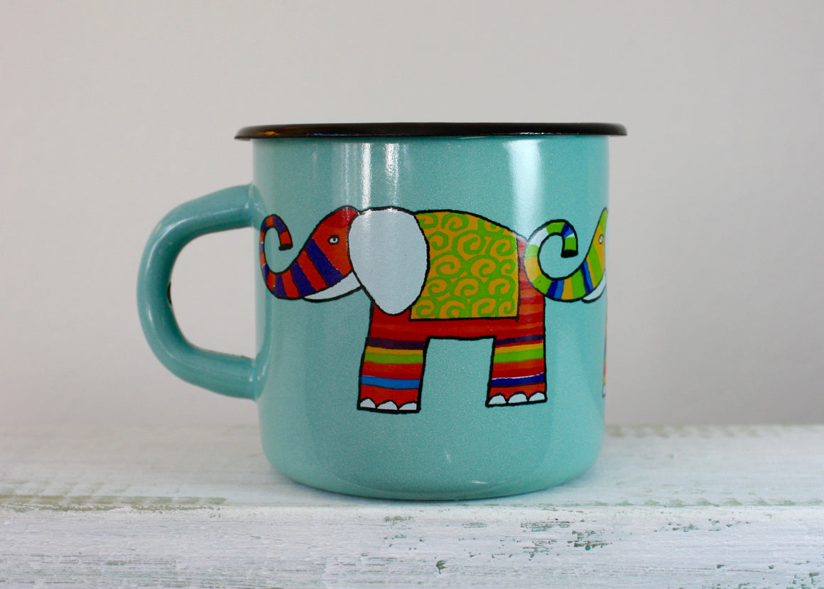 Enamel mug aquamarine 330ml * elephants | Rainbow Tongue Enamelware