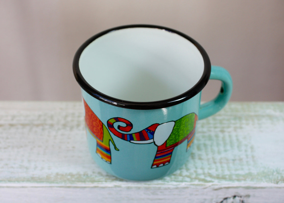 Enamel mug aquamarine 330ml * elephants top view | Rainbow Tongue Enamelware