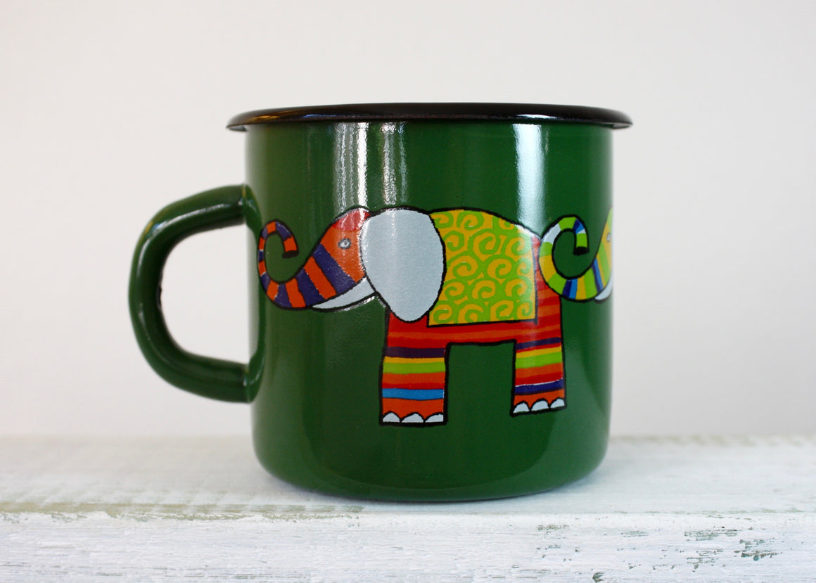 Enamel mug green 330ml * elephant | Rainbow Tongue Enamelware