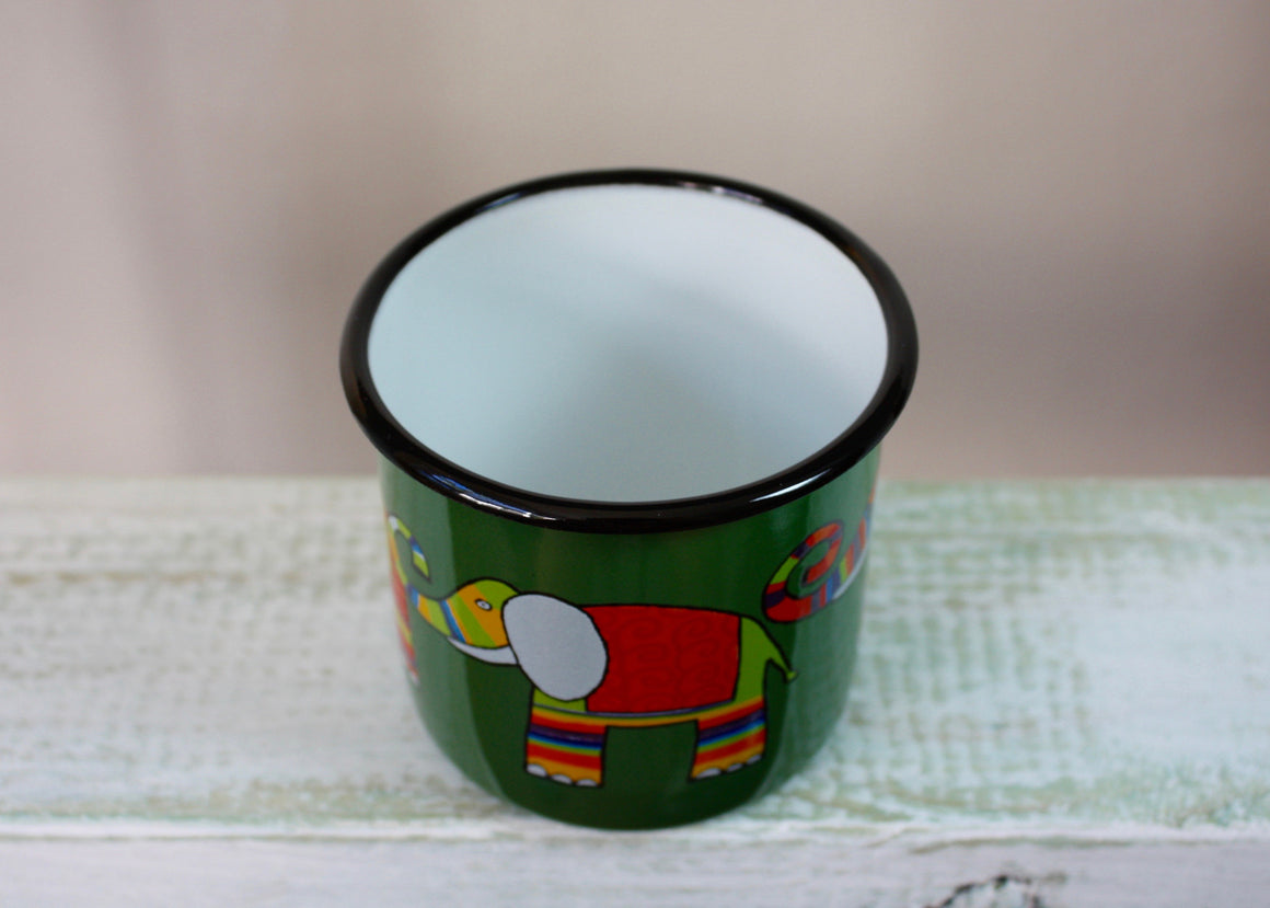 Enamel mug green 330ml * elephant top view | Rainbow Tongue Enamelware