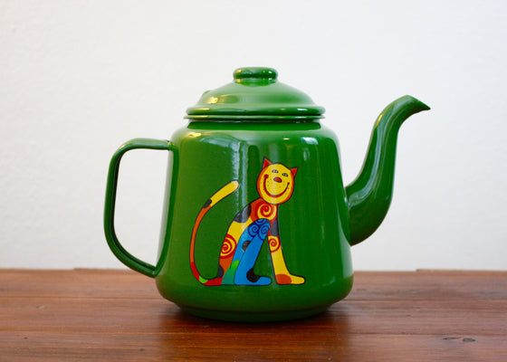 Enamelware Teapot 1L with cats(green) | Rainbow Tongue Enamelware