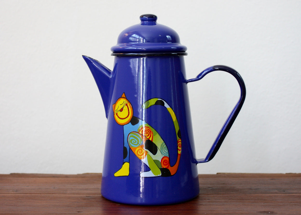 Enamel coffee pot 1L blue * cats | Rainbow Tongue Enamelware
