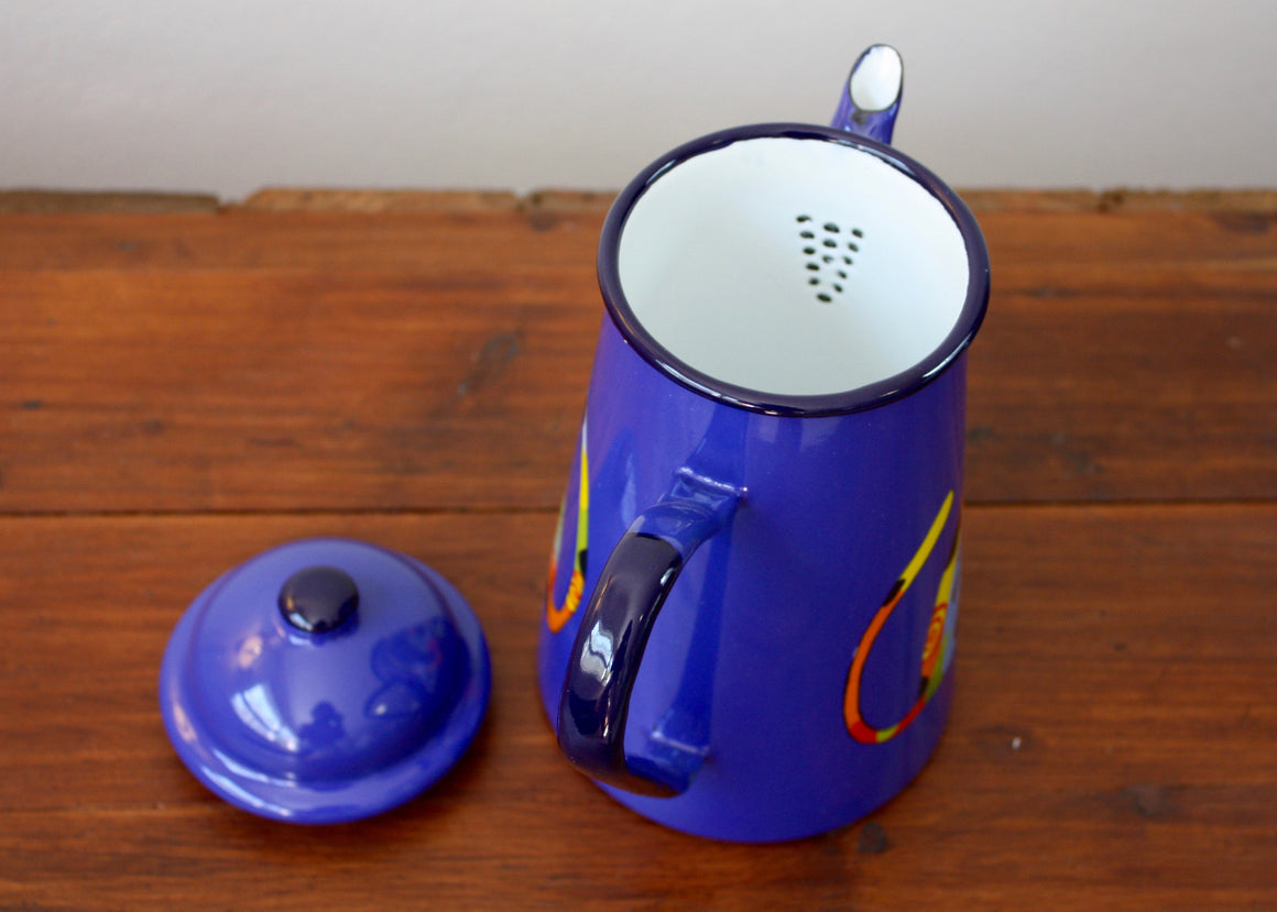 Enamel coffee pot 1L blue * cats top view | Rainbow Tongue Enamelware