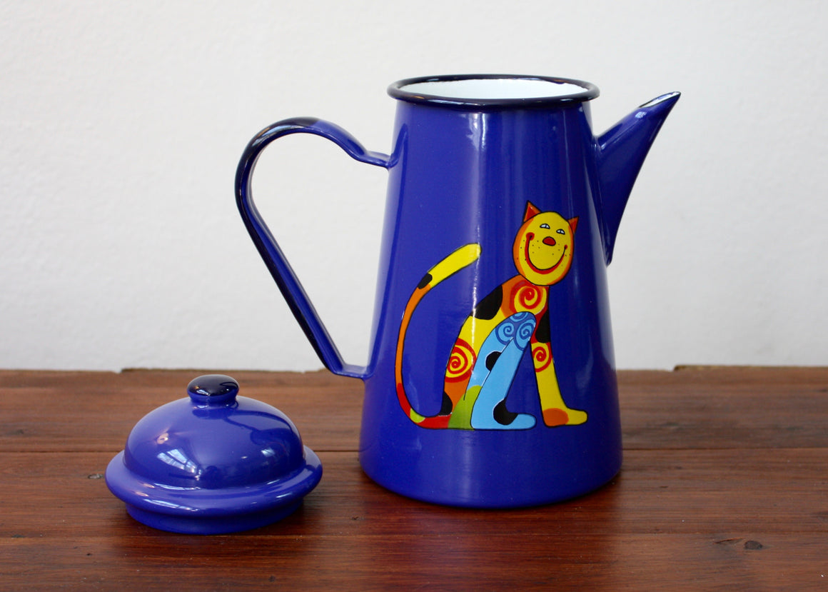 Enamel coffee pot 1L blue * cats lid open | Rainbow Tongue Enamelware