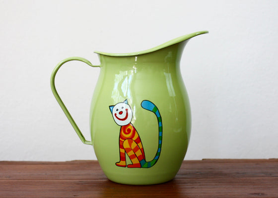 Enamel pitcher 1.2L * cats (light green) | Rainbow Tongue Enamelware