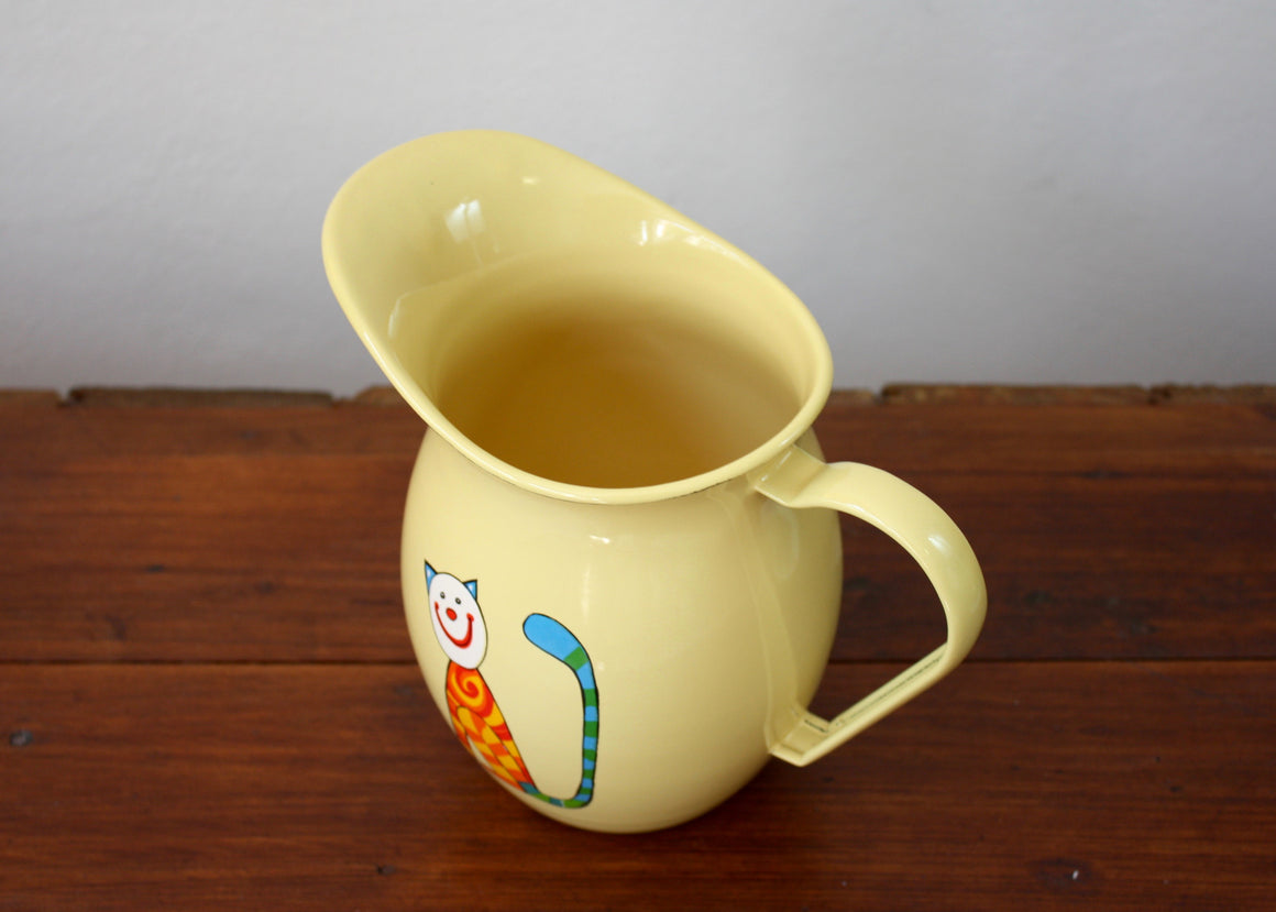 Enamel pitcher 1.2L with cats (yellow) top view | Rainbow Tongue Enamelware