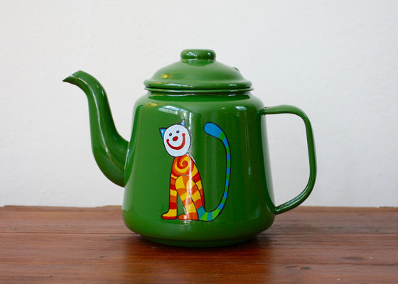 Enamel Teapot 1L with striped cats(green) | Rainbow Tongue Enamelware