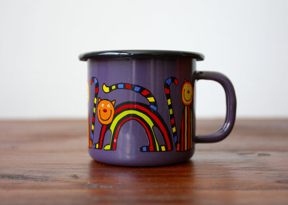 Enamel mug 110ml with curved cats(purple) | Rainbow Tongue