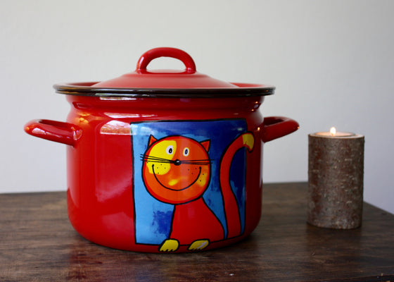 Enamel cooking pot 3L (red) | Rainbow Tongue Enamelware