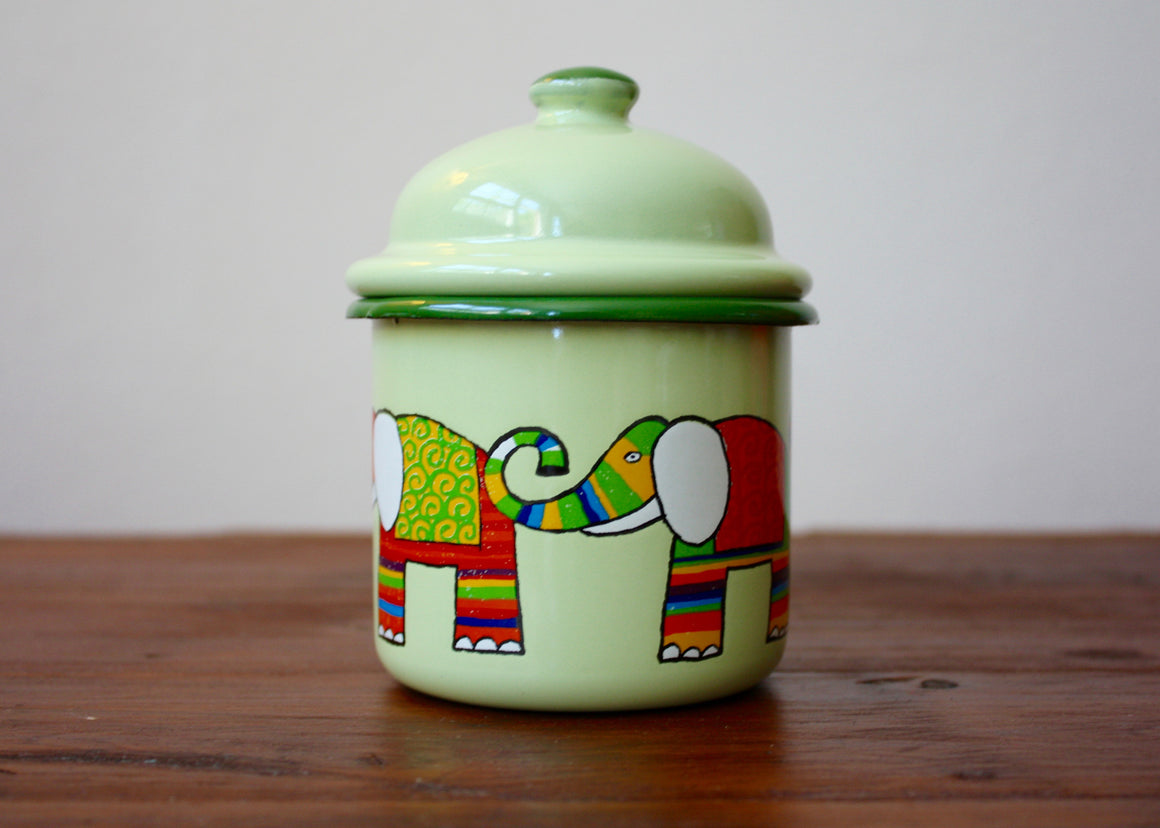Enamel bowl container 330ml *elephants | Rainbow Tongue Enamelware