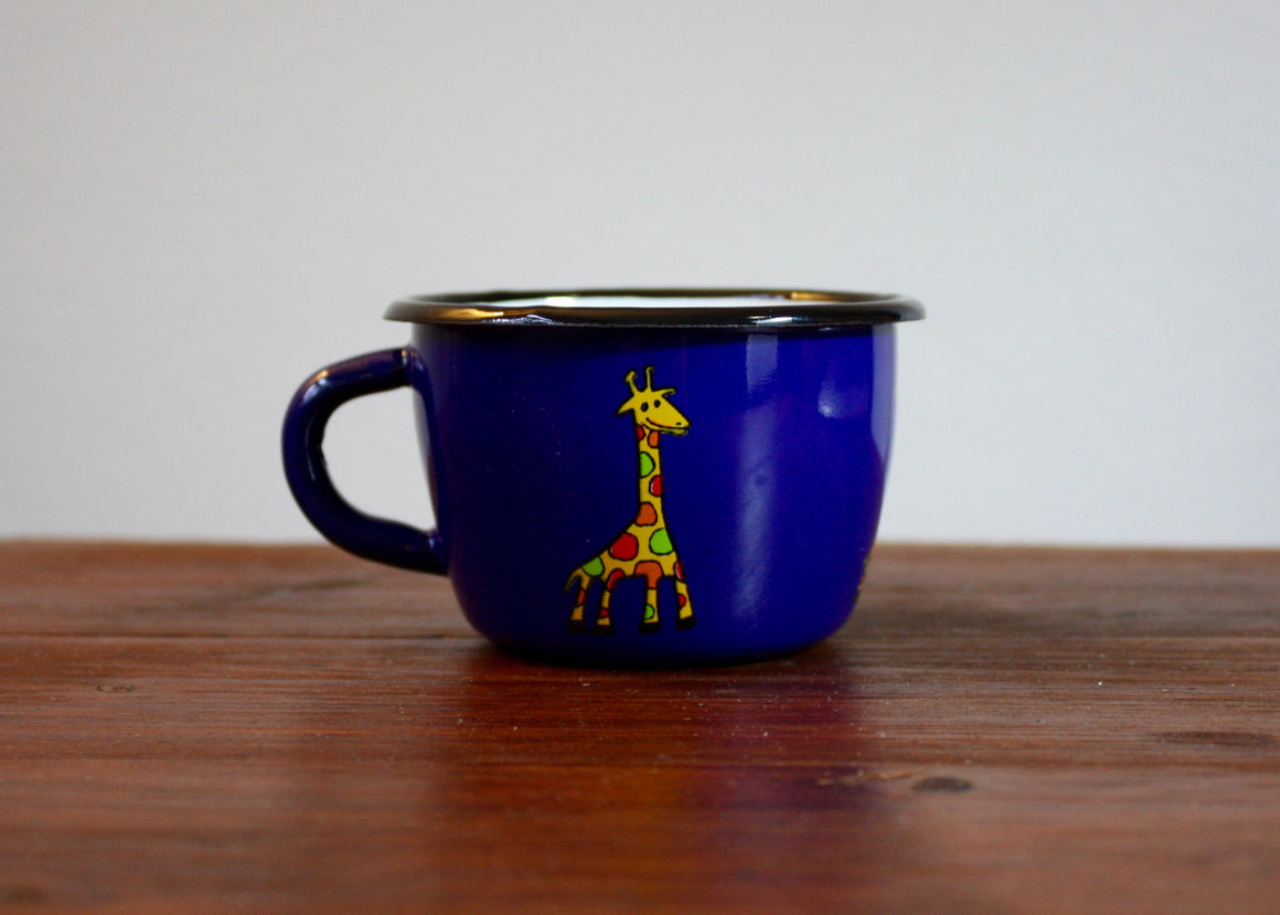 Enamel conical mug 200ml * giraffes(blue) left view | Rainbow Tongue Enamelware