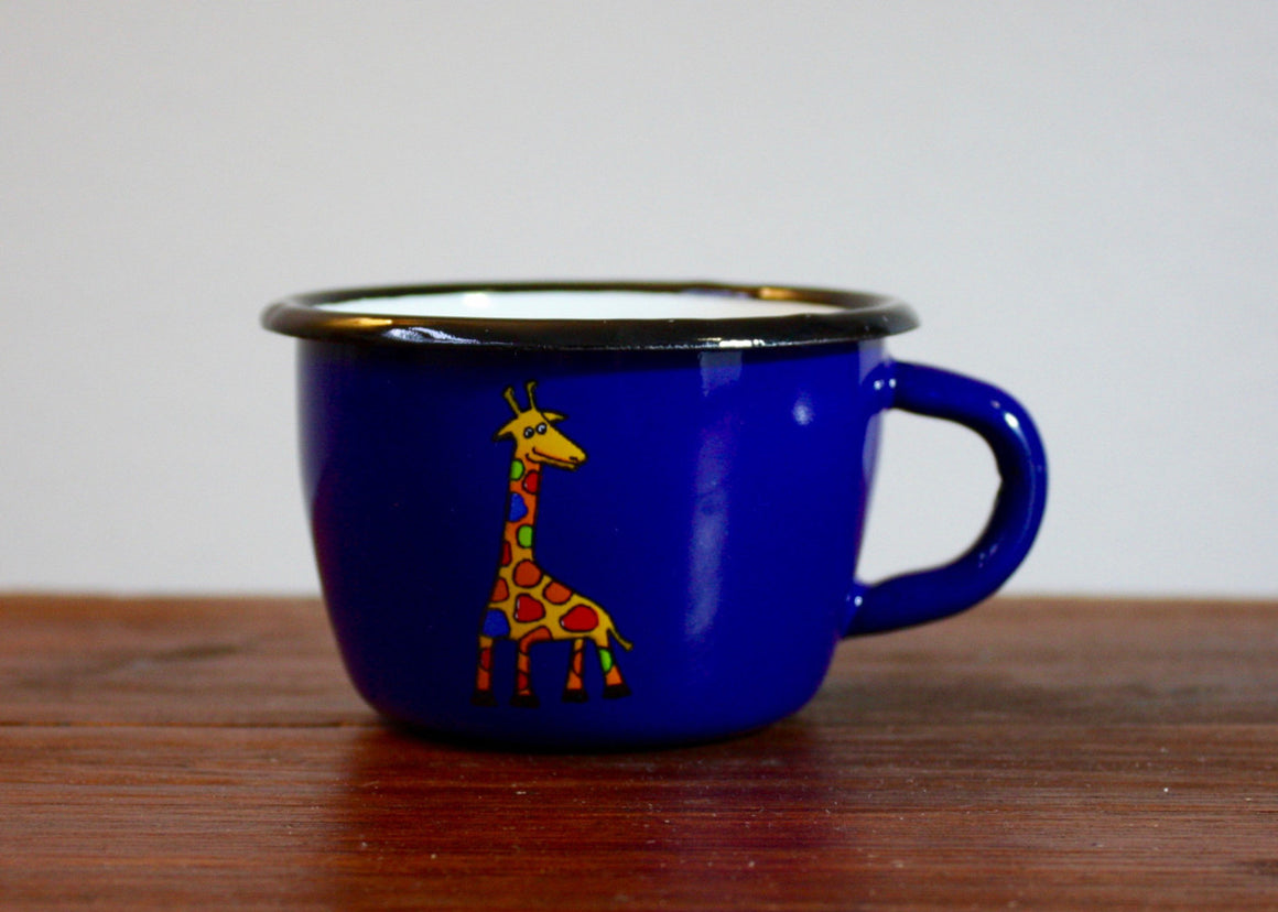Enamel conical mug 200ml * giraffes(blue) | Rainbow Tongue Enamelware