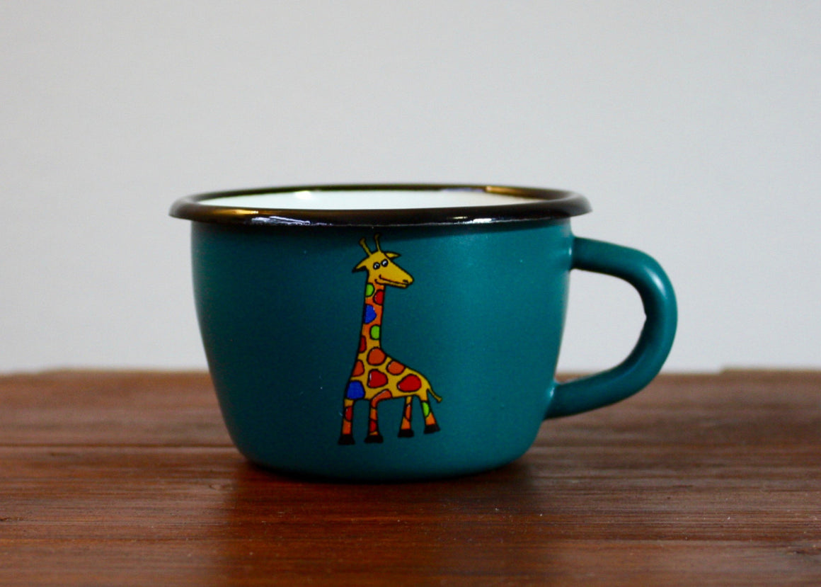 Enamel conical mug 200ml * giraffes(matt petrol) | Rainbow Tongue