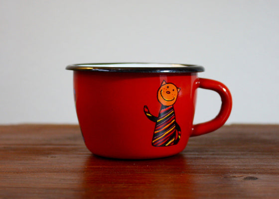 Enamel conical enamel mugs 200ml red with cats