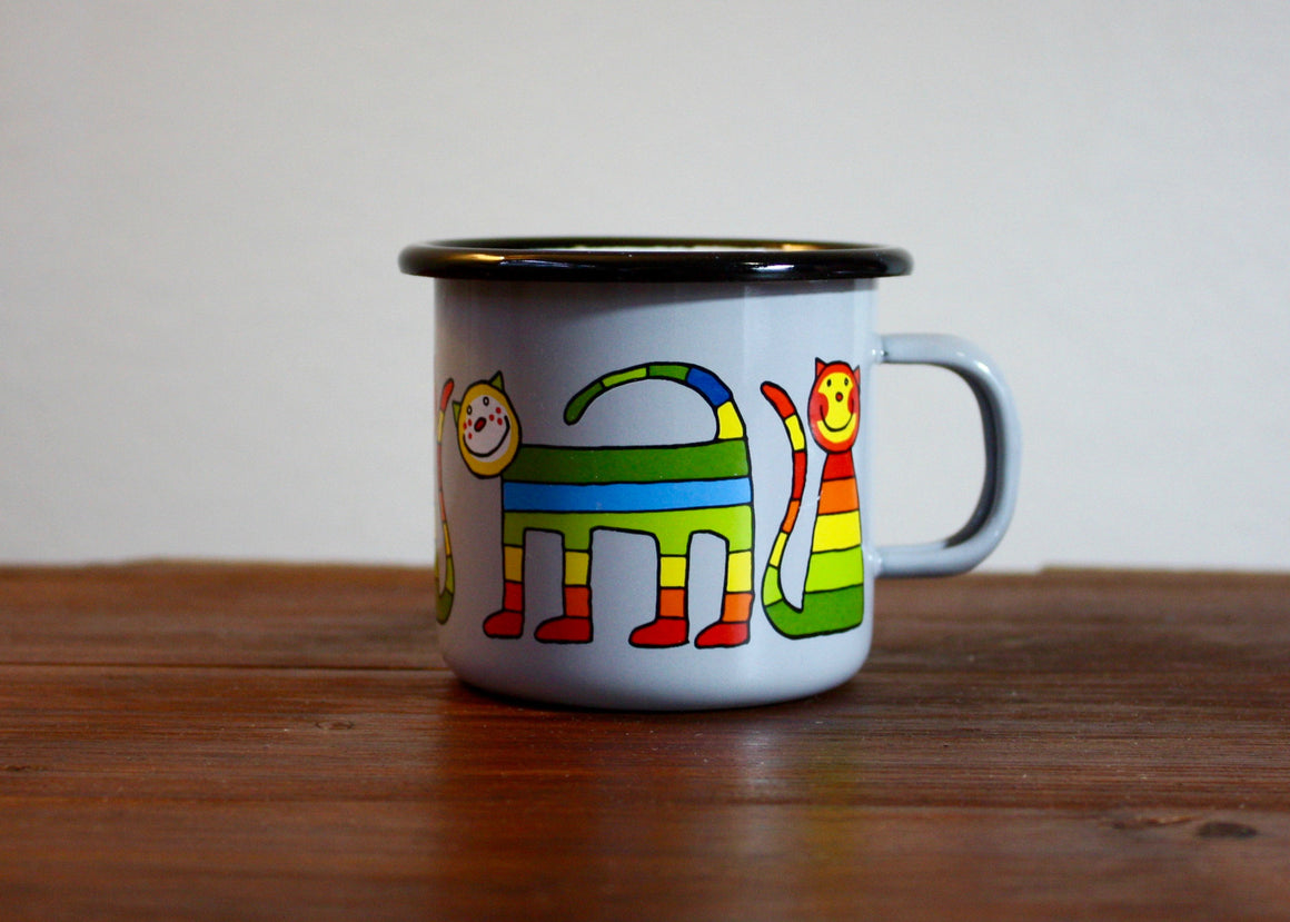 Enamel mug 220ml with stripe cats (grey) right view | Rainbow Tongue Enamelware