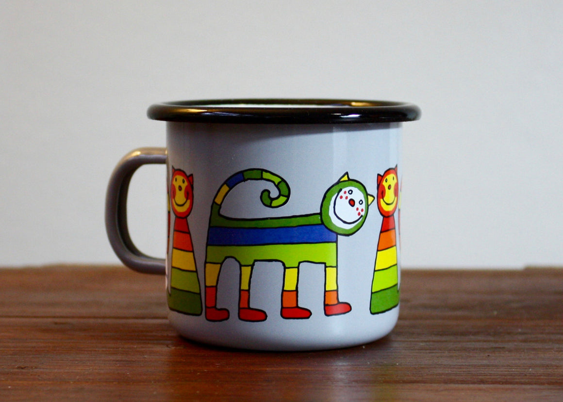 Enamel mug 220ml with stripe cats (grey) | Rainbow Tongue Enamelware