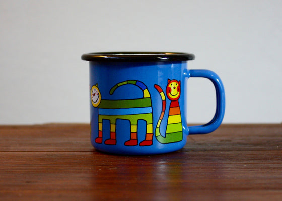 Enamel mug 110ml with stripe cats (light blue) | Rainbow Tongue