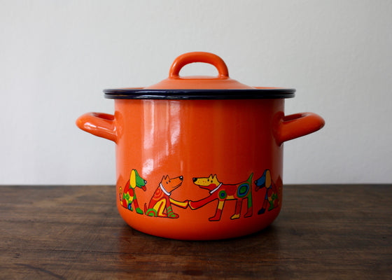 Enamelware Cooking pot 1.5L with dogs(orange) | Rainbow Tongue
