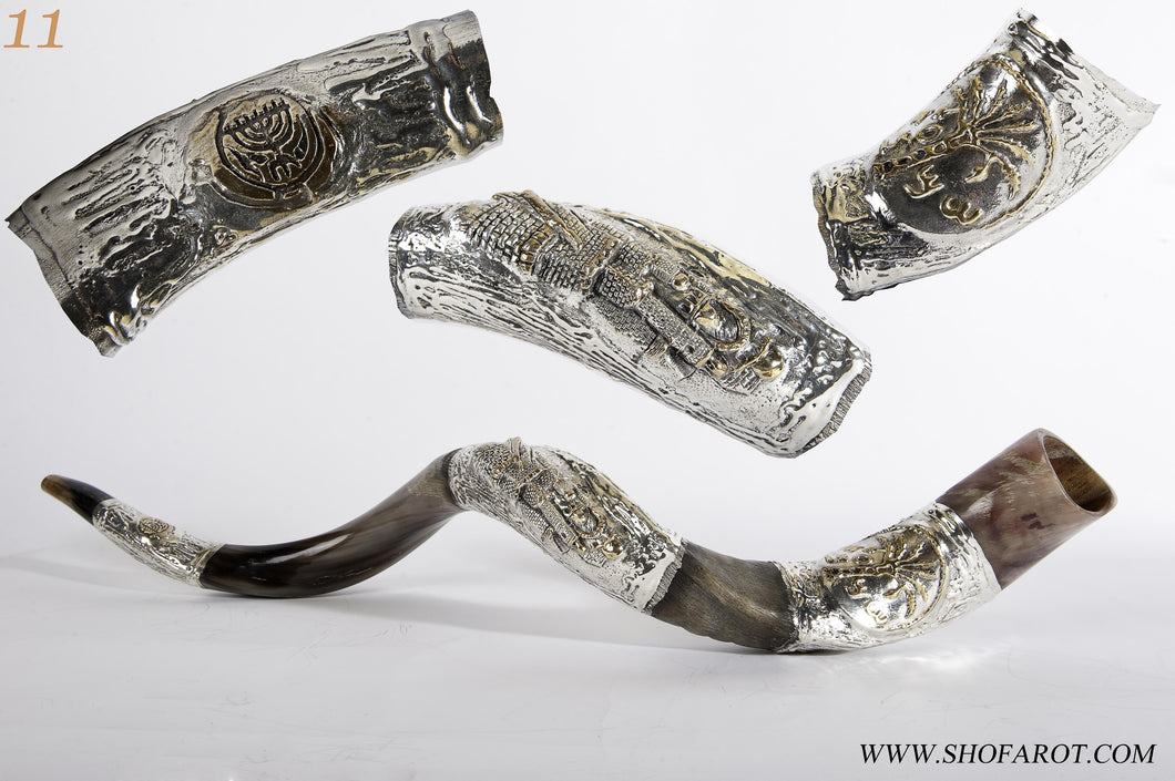 925 Sterling Silver Plated Yemenite Kudu Shofar By