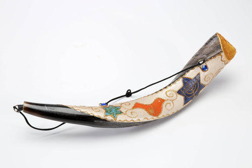 Hand Painted Anointing Oil Yemenite Shofar by