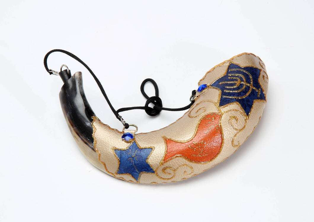 Hand Painted Anointing Oil Rams Shofar by