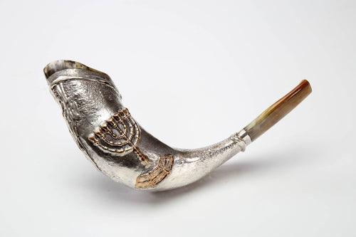925 Sterling Silver Plated Rams Horn  Shofar By