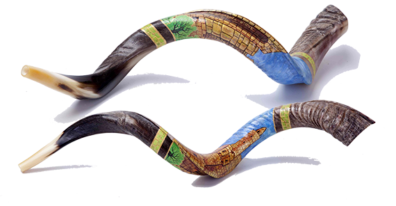 Hand Painted Kosher Yemenite Kudo ,Kudu Horn Shofar By