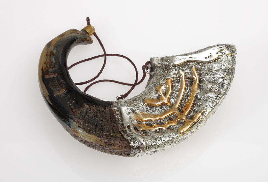Silver Plated Anointing Oil Rams Shofar by