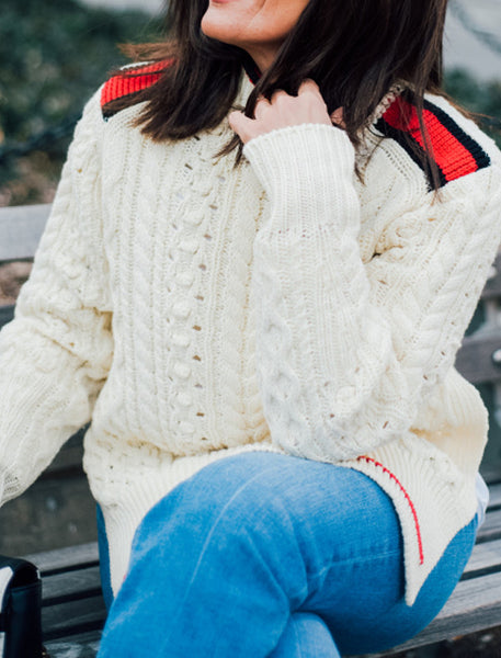 Ivory Knitted Wool Sweater