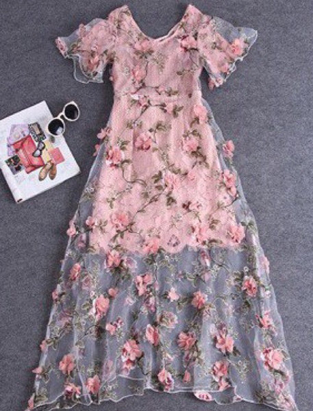 Blooming Flower Lace Dress