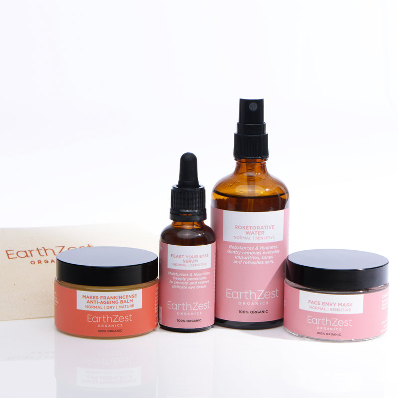 Vegan and Organic Facial Kit for Normal Dry Mature Skin by EarthZest Organics