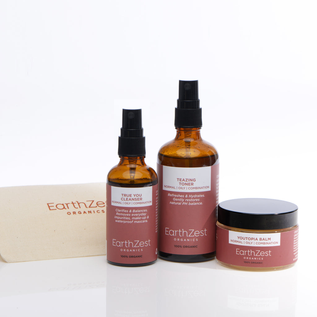 Natural Organic Skincare Kit for Normal Oily Combination Skin by EarthZest Organics