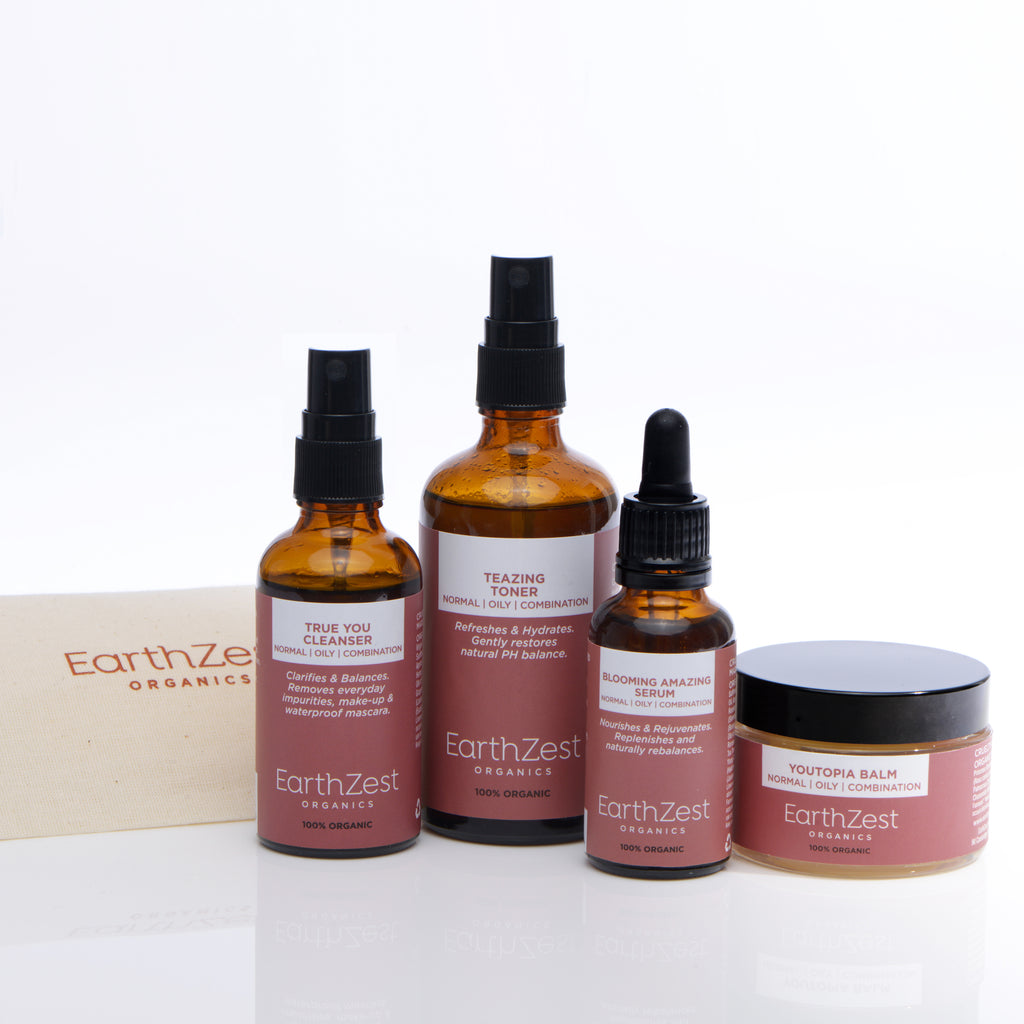 Vegan Organic Skincare Kit for Normal Oily Combination Skin by EarthZest Organics