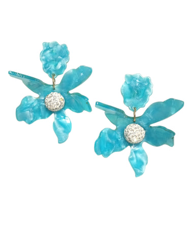Rafaella Floral Acrylic Clip-On Earrings (Aqua Blue)