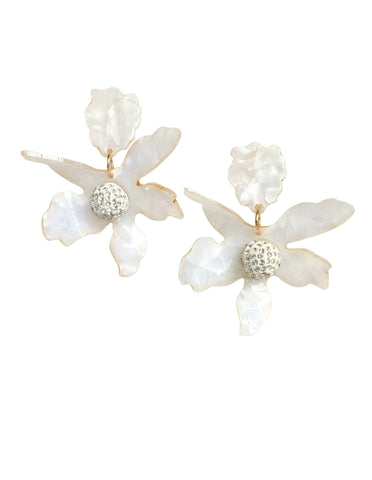 Rafaella Floral Acrylic Clip-On Earrings (Ivory)