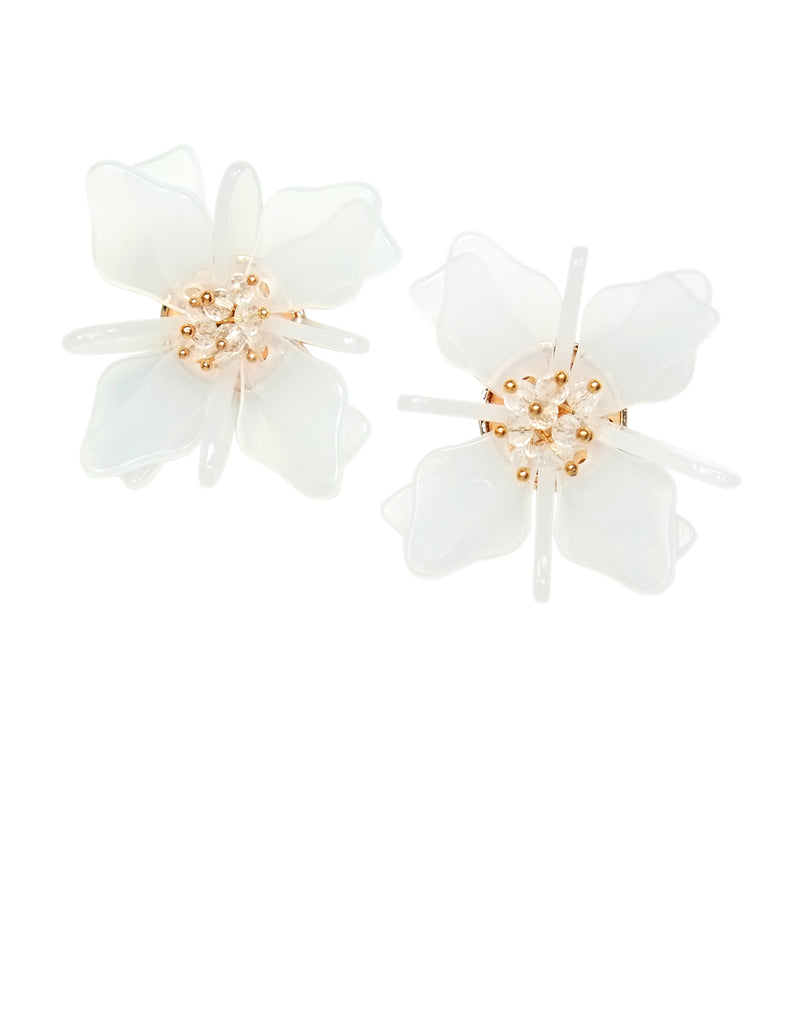 Raissa Floral Frost Earrings (White)