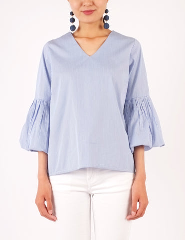 Adele Puff Sleeves Top (Blue Stripe)