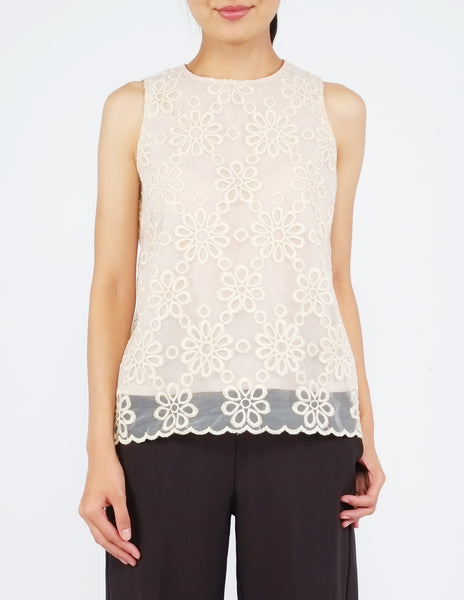 Ailey Organza Sleeveless Top (Cream)