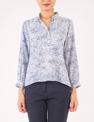 Aleta Split Neckline Top (Blue Print)
