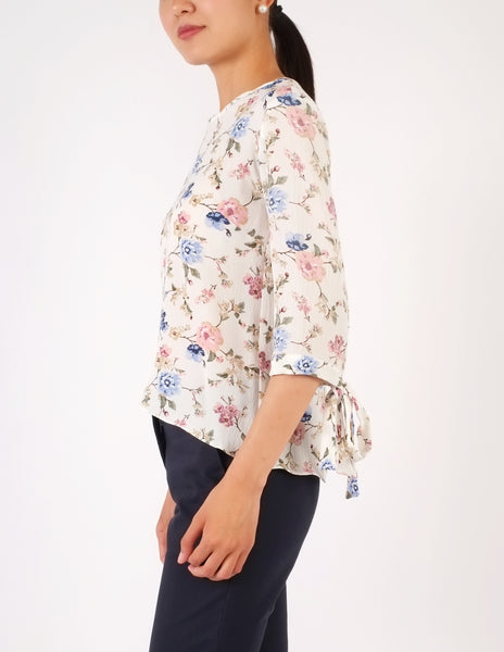 Alexine Tie Sleeves Top (Floral)
