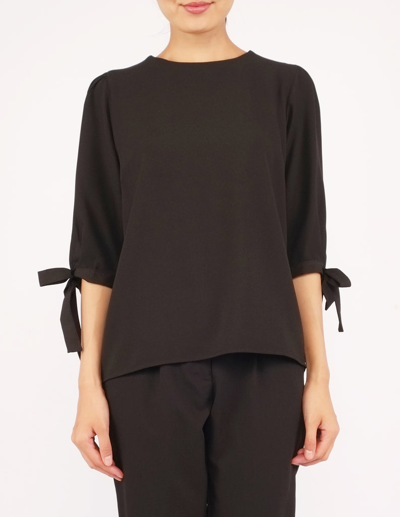 Alexy Tie-Sleeves Top (Black)