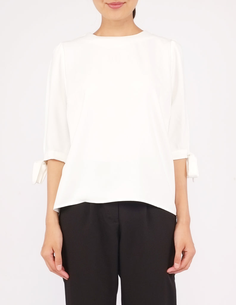 Alexy Tie-Sleeves Top (Ivory)
