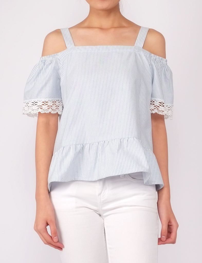 Alne Cold Shoulder Top (Blue Stripe)